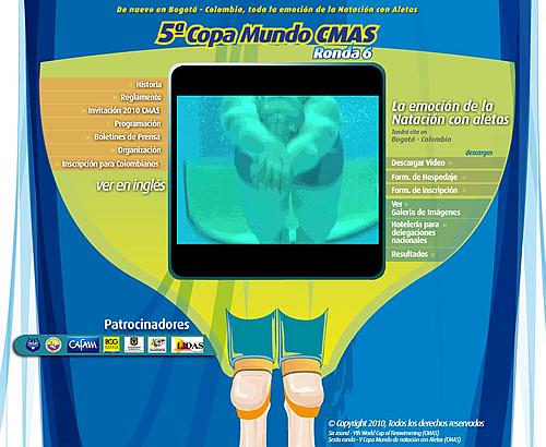 webcopamundobogota2009 Web Oficial de la 6ta Ronda V Copa Mundo Natación con Aletas CMAS. Bogotá 2010